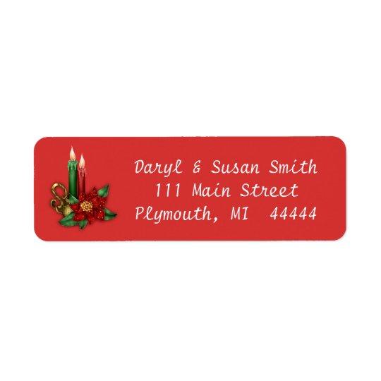 Etiqueta de dirección del navidad con las velas