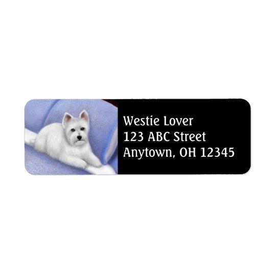 Etiqueta de dirección del oeste de Terrier de la