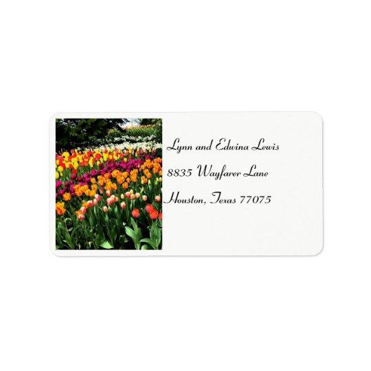 Etiqueta de dirección del tulipán