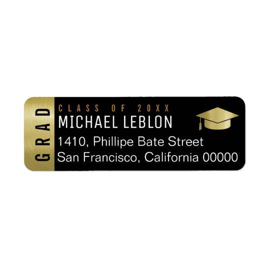 etiqueta de dirección elegante de la graduación