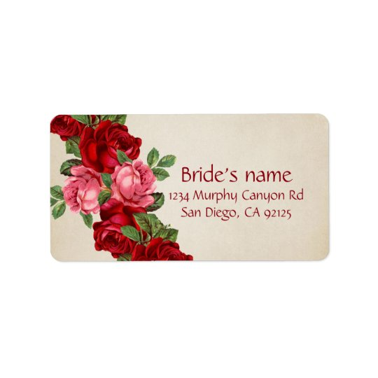 Etiqueta de dirección elegante romántica color de