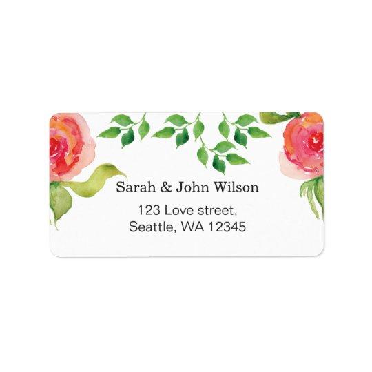 etiqueta de dirección floral de la acuarela rosada
