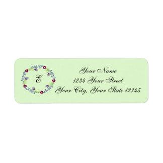 Etiqueta de dirección floral de la inicial de la