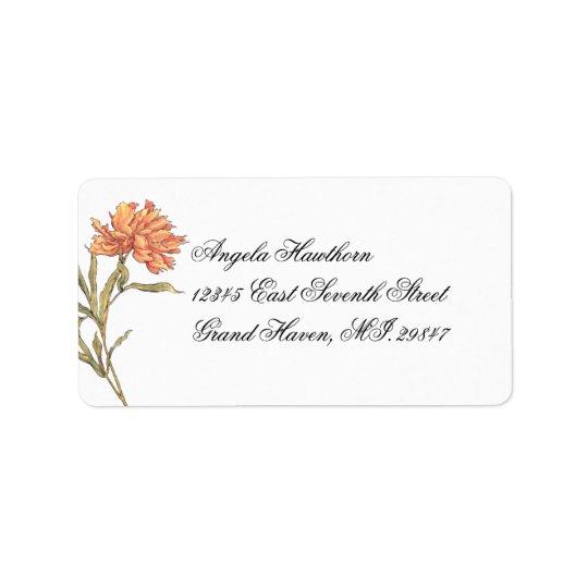 Etiqueta de dirección floral de RSVP del Peony del