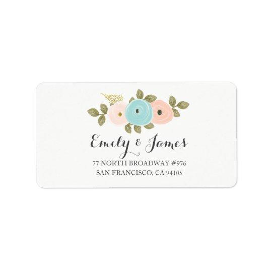 Etiqueta de dirección floral del boda de la