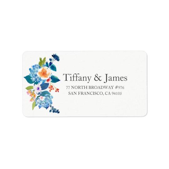 Etiqueta de dirección floral elegante del boda del