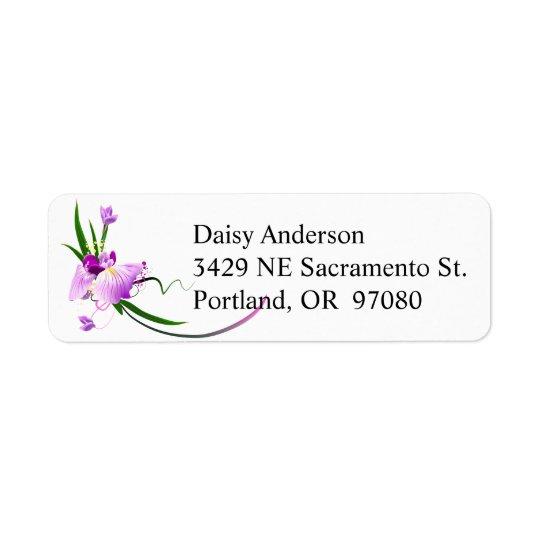 Etiqueta de dirección floral púrpura