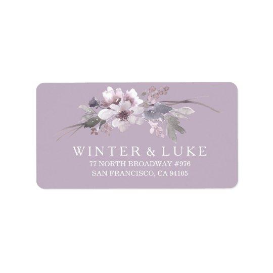Etiqueta de dirección floral púrpura del boda de