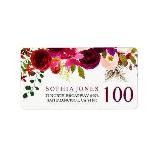 Etiqueta de dirección floral roja del cumpleaños