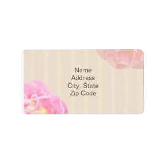 Etiqueta de dirección floral rosada Nicole