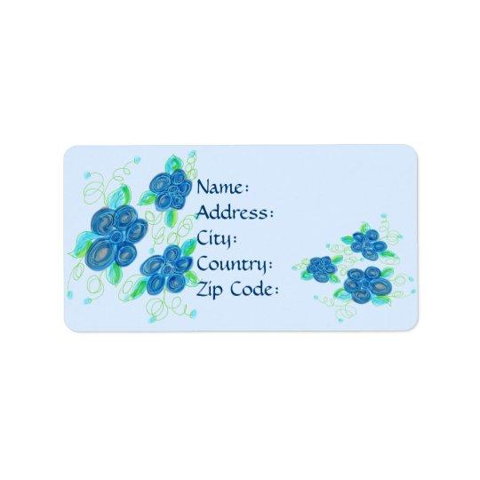 Etiqueta de dirección florecida azul bonita