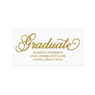 Etiqueta de dirección intrépida de la graduación