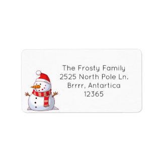 Etiqueta de dirección linda del muñeco de nieve