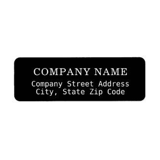 etiqueta de dirección negra de la compañía con el