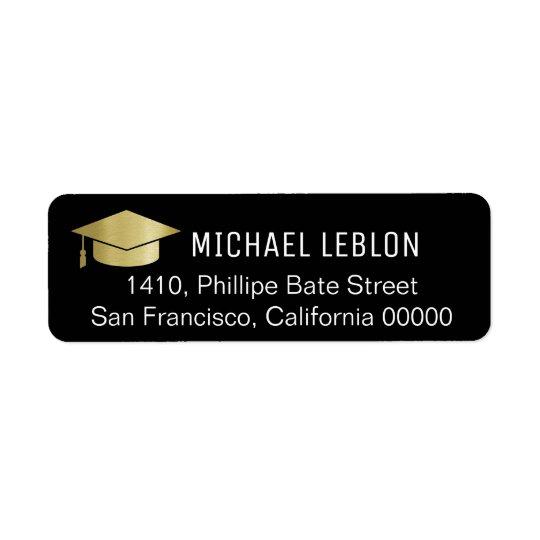etiqueta de dirección negra de la graduación con