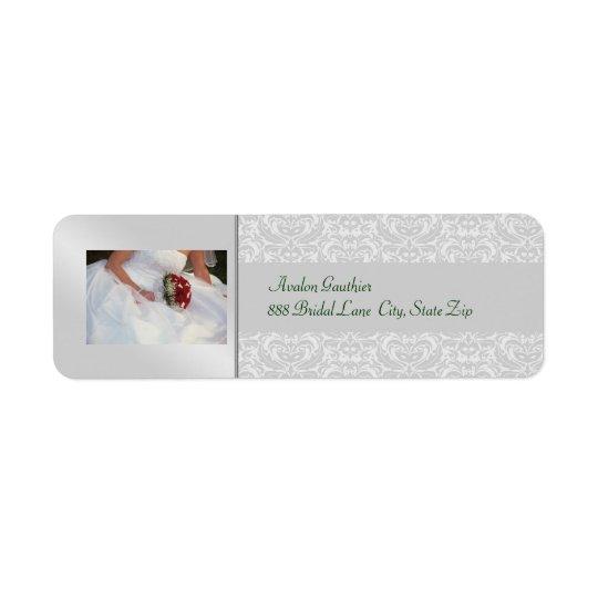 Etiqueta de dirección nupcial de plata de la ducha
