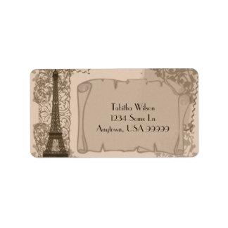 Etiqueta de dirección parisiense de la sepia