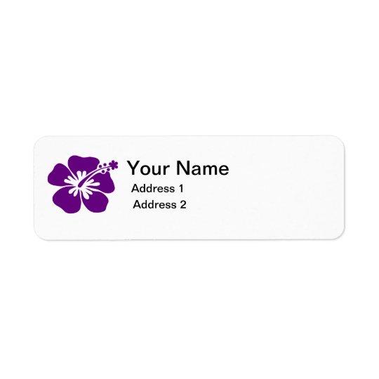 etiqueta de dirección púrpura de la flor del