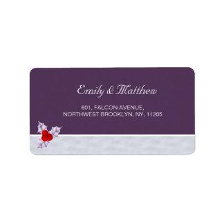 Etiqueta de dirección púrpura de las bayas y de