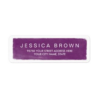 Etiqueta de dirección púrpura violeta moderna de