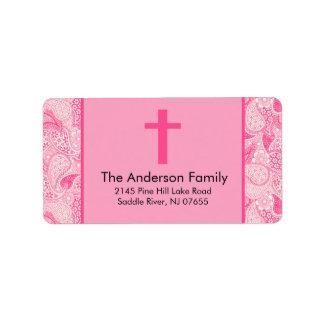 Etiqueta de dirección religiosa cruzada rosada del