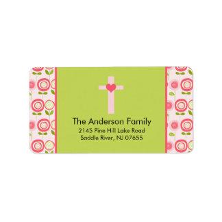 Etiqueta de dirección religiosa de la cruz rosada