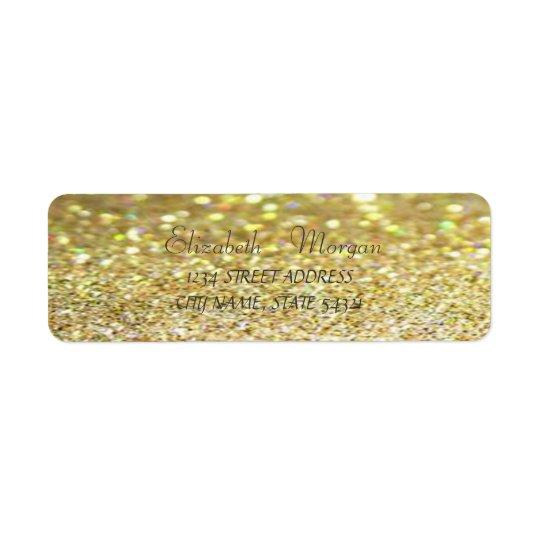 Etiqueta de dirección reluciente de Bokeh del oro