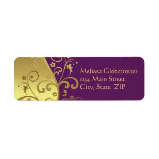 Etiqueta de dirección--Remolinos del oro y violeta