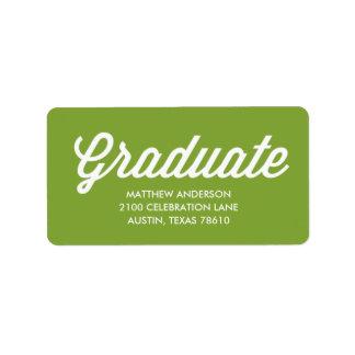 Etiqueta de dirección retra de la graduación de la