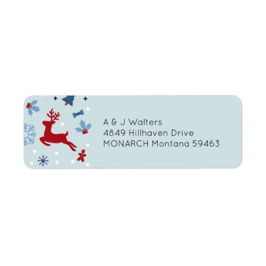 Etiqueta de dirección roja y azul festiva del