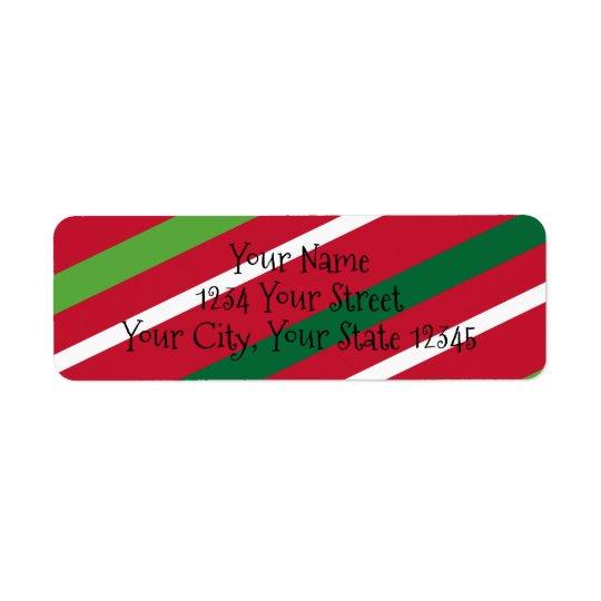 Etiqueta de dirección roja y verde de la raya