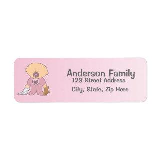 Etiqueta de dirección rosada de Blankie de la niña