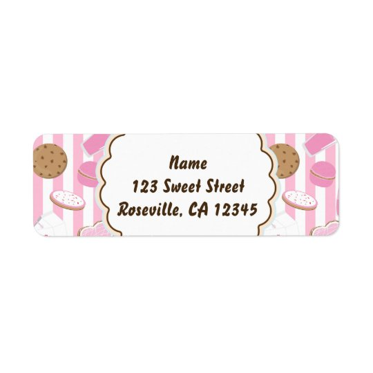 Etiqueta de dirección rosada del fiesta de las