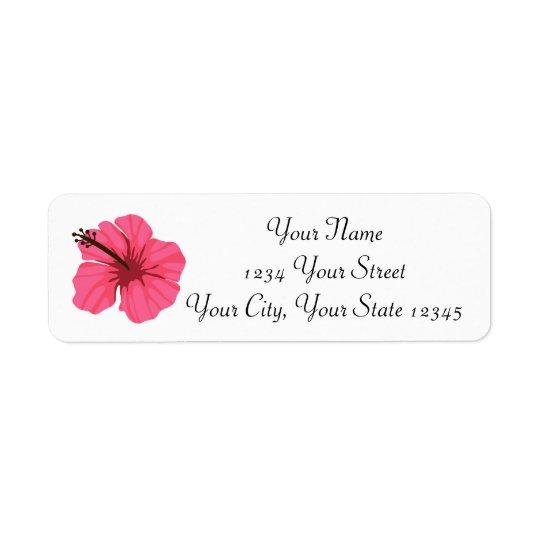Etiqueta de dirección rosada del hibisco