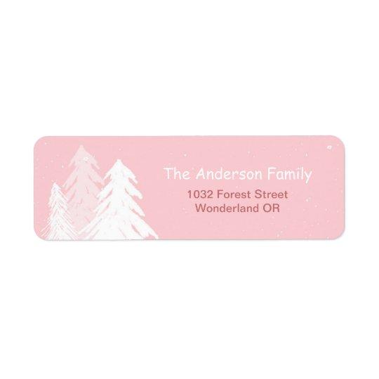 Etiqueta de dirección rosada simple linda de