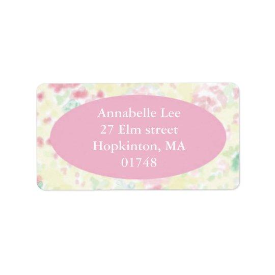 Etiqueta de dirección rosada y amarilla de Foral