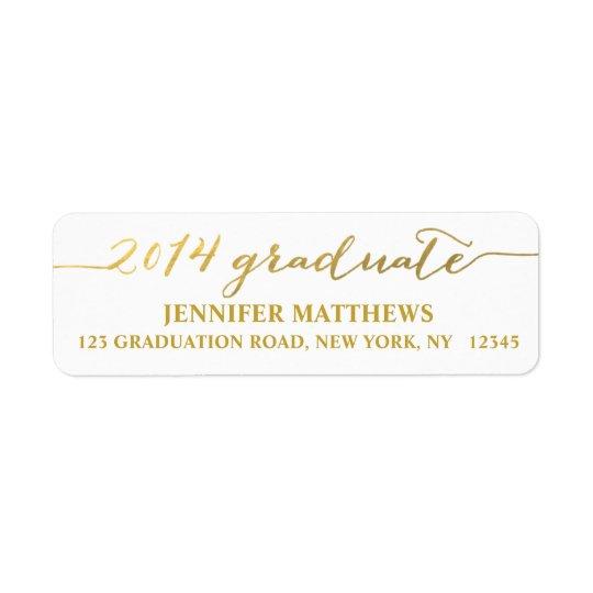 Etiqueta de dirección simple de la graduación del