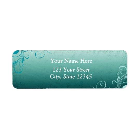 Etiqueta de dirección verde azulada del remolino