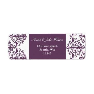 etiqueta de dirección violeta del damasco