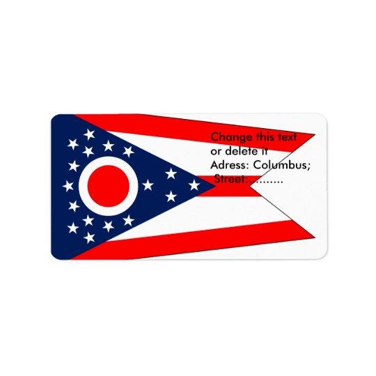 Etiqueta de encargo con la bandera de Ohio, los