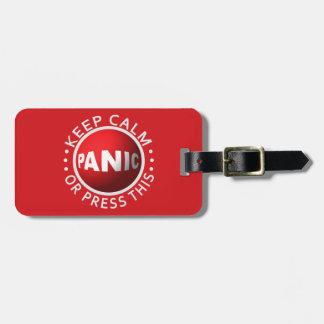 Etiqueta de encargo del equipaje del botón de páni etiquetas bolsas