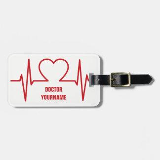 Etiqueta de encargo del equipaje del corazón EKG