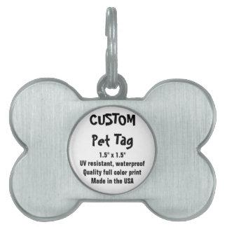Etiqueta de encargo del mascota - hueso, plata placas de mascota