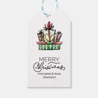 Etiqueta de encargo del navidad con los regalos de