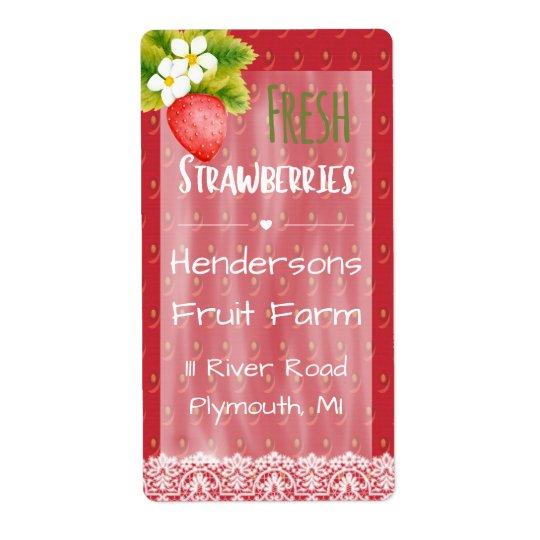 Etiqueta de envío de las fresas