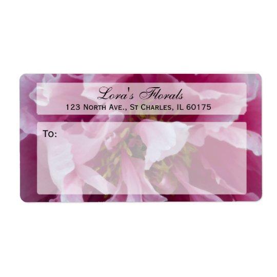 Etiqueta de envío floral del Peony rosado
