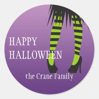 Etiqueta de Halloween de las piernas de la raya