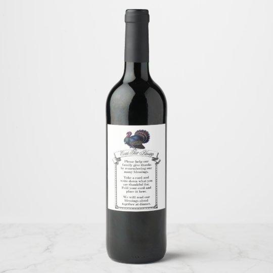 Etiqueta de la botella de vino de la bendición de