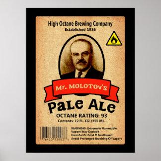 Etiqueta de la cerveza clara de Sr. Molotov Póster