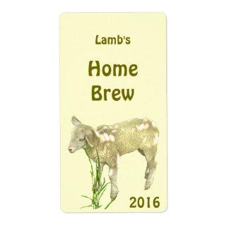 Etiqueta de la cerveza del amarillo del cordero etiquetas de envío